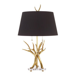 "John Richard - Contemporary John Richard Antler Brass Table Lamp - This glistening modern brass table lamp is inspired by nature. Designed after real elk antlers this sculptural accent shimmers atop a clear acrylic base. Topped with a contrasting black shade. A beautiful addition to your decor from John Richard lighting. Antler-inspired modern table lamp. Polished brass construction. Clear acrylic base. Black lamp shade. Takes two maximum 60 watt bulbs or equivalent (not included). S-socket. 32 1/2"" high. Shade is 15"" across the top 19 1/2"" across the bottom and 11"" high.   Antler-inspired modern table lamp.  Polished brass construction.  Clear acrylic base.  Black lamp shade.  Takes two maximum 60 watt bulbs or equivalent (not included).  S-socket.  32 1/2"" high.  Shade is 15"" across the top 19 1/2"" across the bottom and 11"" high."