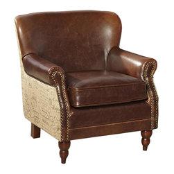 EuroLux Home - Arm Chair Script Fabric Leather FC - Product Details