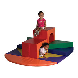 Ecr4kids - Ecr4Kids Soft Zone High Rise Climber - A perfect challenge for more experienced climbers. Kids have the opportunity to grow and explore under and around this exciting spiral stair case and tunnel combination. Polyurethane foam shapes are covered in reinforced, phthalate-free vinyl in bright primary and secondary colors. Tunnels have higher-density foam to keep kids safe while they're exploring. Designed specifically for use against a wall to ensure a safe and fun playtime-not intended for free-standing use.