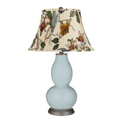 "Color Plus - Contemporary Rain Gray Botanical Shade Double Gourd Table Lamp - Exclusive Rain blue gray designer color. Gray botanical print bell shade. Hand-crafted lamp. From the Color + Plus lighting collection. Maximum 150 watt or equivalent bulb (not included). 29 1/2"" high. Shade is 10"" across the top 17"" across the bottom 11"" on the slant.   Exclusive Rain blue gray designer color.  Gray botanical print bell shade.  Hand-crafted lamp.  From the Color + Plus lighting collection.  Maximum 150 watt or equivalent bulb (not included).  29 1/2"" high.  Shade is 10"" across the top 17"" across the bottom 11"" on the slant."