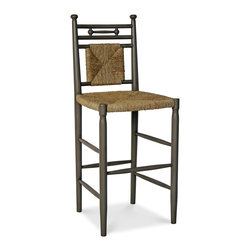 Abigail Barstool - Cottage House Collection - Abigail Barstool boasts a rush woven seat and back that lends rustic charm to its classic turned frame. This cottage chic seat lends comfort and character to the bar, kitchen or den. Offered in two sizes: 24 and 30 inch height. The 30 inch height is shown in Taupe. Our Cottage House Collection is a wonderful blend of antique cottage style furniture that beautifully interpret reproductions through a labour of passion and quality. Using a multi-layered hand lacquering and antiquing process, these heirloom quality furniture pieces are designed to last generations. Hand applied distress markings artistically mimic normal wear closely representing the original antique piece. The ideal solution to bring an eclectic, old world feeling into today's modern decor!