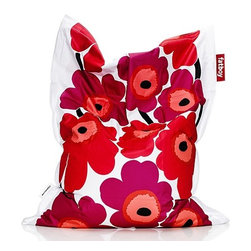 Fatboy - Fatboy | Fatboy® junior Marimekko® Unikko - Provide your child with an irresistible place to lay, watch TV, read a book, cuddle and nap with the Fatboy Junior Marimekko Unikko. Offering a unique, rectangular shape, this beanbag is stain and water resistant to survive even the rowdiest child. A scaled-down version of the original, the Fatboy® Junior Marimekko Unikko's lively flower pattern brings a modern and whimsical vibe to the kids' room. Product Features: