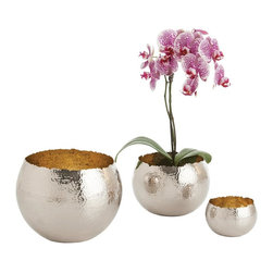 Kathy Kuo Home - Alessandria Polished Nickel Hammered Bowls - Set of Three - This set of three shining polished nickel bowls provide versatile, room-brightening décor all in one. Plant a flowering succulent in one of these and you can't help but smile every time you enter the room. With a contrasting brass interior, an irregular top edge and a hammered finish, these are far from basic storage bowls, but just as useful.  A great compliment to any urban décor.