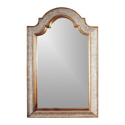 Bassett Mirror - Portrait Style Beveled Mirror w Arched Header - Decorative piece. 29 in. L x 45 in. H (17 lbs.)