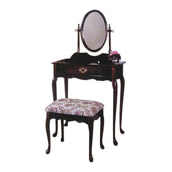 "ADAD526-CH - 3-Piece Cherry Finish Wood Vanity Set with Vanity Table, Mirror and Bench - 3-piece cherry finish wood vanity set with vanity table, mirror and bench. Includes vanity table measuring 28"" x 16"" x 50.5"". Including mirror, vanity stool measuring 18"" x 14"" x 17.25"". Some assembly is required."