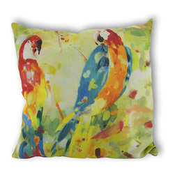Manual - Polly's Parrot Duo Tropical Reversible Indoor/Outdoor Throw Pillow - Add a colorful accent in your home or on your porch or patio with this parrot duo throw pillow. The Climaweave fabric is durable, fade and moisture resistant, and is sure to look and feel great for years, wherever you use it. The front of the pillow features a watercolor style print of two tropical parrots, and the back features a print of palm fronds in coordinating colors. It is made of 100% polyester, from the cover to the soft stuffing, and is proudly made in the USA. Spot clean or dry clean, only.