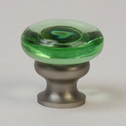 Lew's Hardware Green Glass and Brushed Nickel Knob - Add a pop of fun and gorgeous color to your kitchen via these green glass knobs. They are jewelry for the kitchen.