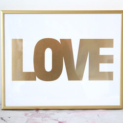 Small Gold Love Print - This small print by Made By Girl is so glam! You can even order it in the frame you see here.