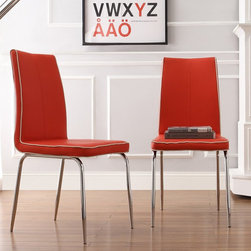 Homelegance - Homelegance Goran Retro Faux Leather Side Chair - Red / Chrome - Set of 2 - 2533 - Shop for Dining Chairs from Hayneedle.com! The Homelegance Goran Retro Faux Leather Side Chair - Red / Chrome - Set of 2 brings a splash of color to any room. The metal construction of these chairs feature chrome-finished legs. Its red faux leather seat and back upholstery offers a retro look to your space. The contrasting gray edge stitching adds the finishing touch to its modern design.About Homelegance Inc.Homelegance takes pride in offering only the highest quality home furnishings that incorporate innovative design at the best value. From dining sets to mirrors sofas and accessories Homelegance strives to provide customers with a wide breadth and depth of selection as well as the most complete and satisfying service available for their category. Homelegance distribution centers are conveniently located throughout the United States and Canada.