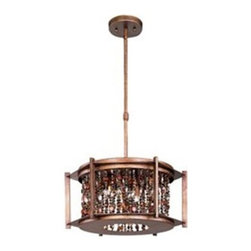 Maxim Lighting - Maxim Lighting 21575CT Trinket Pendant Light - Jewelry for the home: strands of necklace beads suspend within hexagon, metal frames painted in our new Chestnut finish. The true beauty of these fixtures comes to life when illuminated by the powerful Xenon lamps (included).