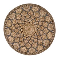 Nourison - Nourison 2000 2318 4' x 4' Slate Area Rug 06645 - Traditional Persian palmettes whirl around a center medallion in this stunning rug. Its blue-grey background puts a cool spin on the glowing golds and greens. An opulent and very livable choice for the sophisticated home.