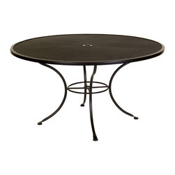 """Standard Mesh 54"""" Round Dining Table with 2"""" Umbrella Hole - Dimensions -"""