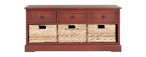 Safavieh - Damien 3 Drawer Storage Unit - Keep clutter tucked away in the Damien 3-drawer storage unit offering stylish organization for entryways, family rooms and bedrooms. Crafted of sturdy pine with a red  finish, Damien offers three handy drawers for smaller items above three ample wicker baskets that slide in and out for easy use. Minor assembly required.