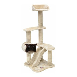 "MAJESTIC PET PRODUCTS - 47.5"" Casita Cat Tree - Your cat will play and nap for hours on this faux fur cat tower. She can scratch on the sisal rope-wrapped posts, climb the scratching ramp to three perches and hide in a little tube. Easy for humans to assemble."