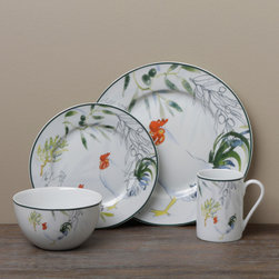 Tabletops Unlimited - Tabletop Gallery 'Provance' Rooster 16-piece Dinnerware Set - Crafted of porcelain, this 'provenance' dinnerware set features a white finish rooster detail. This dinnerware set serves four with mugs, bowls, dinner and salad plates.