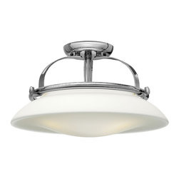 Hinkley Lighting - Hinkley Lighting 3321CM Hinkley Lighting 3321BN Brushed Nickel 3 Light Indoor Se - Hinkley Lighting 3321 Hutton Semi Flush Mount Light Hutton adds flair to the traditional semi-flush mount with its uniquely shaped opal glass shade, re