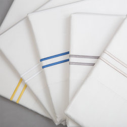 Dual Striped Embroidered Sheet Set - If scalloped edges are not your thing, simple hotel embroidered sheets might do the trick. These ones come in a variety of colors and are super soft.