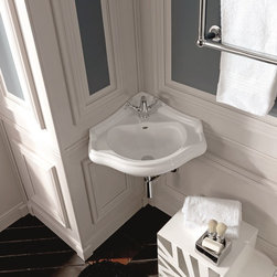 "WS Bath Collections - Retro 16.1"" x 17.9"" Corner Sink - Retro 1032 by WS Bath Collections Bathroom Corner Sink 16.1 x 17.9, with Three Faucet Holes, Includes Mounting Hardware, With Overflow, Designed by Massimiliano Cicconi, Made in Italy"