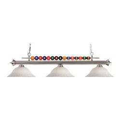 "Z-Lite - 170GM-WM16 Gun Metal Shark 3 Light Chandelier with Glass Shade - Created with the game room in mind, this three light fixture would be a perfect addition above pool table due to its billiard ball detailing. 72"" of chain is included to ensure a perfect hanging height."