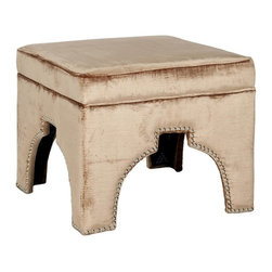 Safavieh - Rolland Ottoman - Rest your feet on the globally-inspired Rolland ottoman with Moorish arch cutout outlined in handsome brass nail heads. Beautifully upholstered in mink brown-colored fabric in a cotton/viscose blend, this fashionable ottoman is crafted of sturdy birch wood. Equally good looking alone or in pairs, Rolland combines comfort and style in the living room, family room or bedroom.