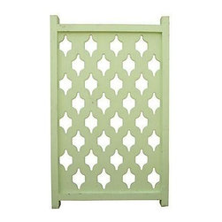 Pre-owned 1960s Fretwork Partition - 1960s pine fretwork room partition. It was originally installed with tension poles; slap on a coat of paint to make this piece your own and install. There's no maker's mark, and it is in good vintage condition.