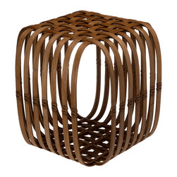KOUBOO - Lattice Rattan Stool & Side Table - 21 inches long x 21 inches wide x 21 inches high.