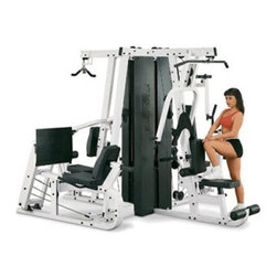 Powerline EXM4000S Commercial Gym - Ultimate commercial-grade gym package allows up to 3 simultaneous usersDesigned to fit comfortably against a wall or in the center of a roomDurable steel construction with a black and white powder-coated finishChoose optional add-on leg press for an even greater number of exercisesChest press station with kick-assist lever and adjustable hand grips ensures a full range of motion without strainingBench press with kick-assist lever provides complete pre-stretch and full range of motionTriceps pressdown station features center-balanced triceps V-bar for follow-through movement with optimum resistanceShoulder press station has been biomechanically designed to ensure an effective workout of your muscles without straining jointsLat pulldown station results in optimum development of your lateral shoulder and upper arm musclesPerfect pec station boasts dual overhead cams with 6 different increment settings per armAb crunch station isolates your abdominal and oblique muscles for fast resultsChest-supported row station includes an ultra-comfortable adjustable chest pad for maximum back developmentLow pulley station swivels smoothly and fully providing accurate resistance for cable curls upright rows shrugs leg adduction/abduction and moreFeatures (3) 210-pound advanced alloy steel weight stack plates with oversized nylon bushings for smooth quiet operation and full-length shrouds for improved safetyHigh-density top-grade DuraFirm pads and rollers are durable and tear-resistant offering lower lumbar supportComes complete with lat bar low row bar utility strap workout poster and workout DVDFull machine weight: 1 420 poundsPlease note that some assembly is requiredManufacturer's warranty included - see Product Guarantee area for complete detailsAbout Body SolidBody Solid has been making high-quality strength training and exercise equipment for over 20 years. Designed for today's workouts Body Solid machines feature innovative technology and distinctive styling that suits your home. Body Solid equipment meets the challenges of today's busy lifestyle while providing you with the utmost in advanced home exercise. From space-saving designs that suit any room to full-sized gym systems with every available station Body Solid gives you the features you want at a price you can afford. All components of all machines are covered by a lifetime manufacturer's warranty; something you won't find from any other manufacturer in the industry.