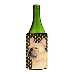 Caroline's Treasures - French Bulldog Candy Corn Halloween Portrait Wine Bottle Koozie Hugger - French Bulldog Candy Corn Halloween Portrait Wine Bottle Koozie Hugger SS4278LITERK Fits 750 ml. wine or other beverage bottles. Fits 24 oz. cans or pint bottles. Great collapsible koozie for large cans of beer, Energy Drinks or large Iced Tea beverages. Great to keep track of your beverage and add a bit of flair to a gathering. Wash the hugger in your washing machine. Design will not come off.