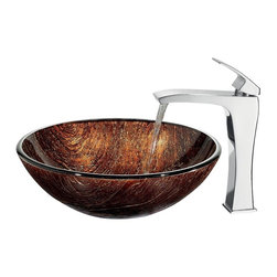Vigo Industries - Kenyan Twilight Sink w Faucet - Includes all mounting hardware, hot or cold waterlines and standard US plumbing 0.38 in. connections. Handmade with unique and slight color variations. Non-porous surface prevents discoloration and fading. Stain-resistant, easy-to-clean surface. Polished glass interior with textured exterior. Above-counter and easy single-hole installation. 1.75 in. standard drain opening. High-quality ceramic disc cartridge ensures maintenance-free use. Mineral-resistant nozzle is easy-to-clean. Finishes resist corrosion and tarnishing, exceeding industry durability standards. Blackstonian vessel faucet is a simple with single lever fixture. Water pressure tested for industry standard. 2.2 GPM flow rate. Required standard 1.38 in. Dia. opening for faucet. Limited lifetime warranty. Made from hand-painted tempered glass and brass. Multicolored sink and chrome colored faucet. Glass thickness: 0.5 in.. Faucet height: 11.5 in. H. Sink: 16.5 in. Dia. x 6 in. H. Faucet Assembly Instructions. Sink Assembly InstructionsThe Kenyan twilight vessel sink is a radiant and unique texture gives the feel of sun-polished resin. Coupled with faucet, this sink brings a distinguished elegance into your bathroom.
