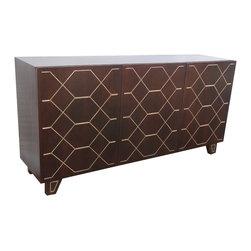 Christopher Knight Home - Christopher Knight Home Kota Espresso and Gold Inlay Three Door Sideboard - This artfully designed sideboard combines class and functionality. The three (3) doors open to reveal fixed shelving for storing your special linens,silver,dishware,or other items of your choosing.