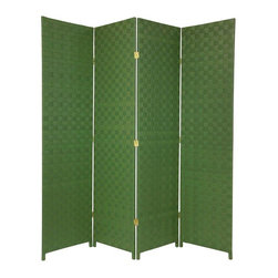 Oriental Furniture - 6 ft. Tall Woven Fiber Outdoor All Weather Room Divider - 4 Panel - Green - Sturdy, strong, well crafted folding screens, designed to be attractive enough for indoors, and to tolerate moisture for outdoor use. The panel frames are built from sturdy, mitered kiln dried Spruce wood, shaded with lightweight, durable cross weave vinyl ribbon. Note that these screens are equally attractive from the front or backside view.