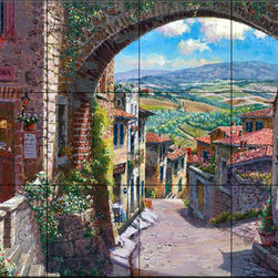 The Tile Mural Store (USA) - Tile Mural - San Giamiano - Kitchen Backsplash Ideas - This beautiful artwork by Sam Park has been digitally reproduced for tiles and depicts a streetscene as viewed through an archway.  This street scene tile mural would be perfect as part of your kitchen backsplash tile project or your tub and shower surround bathroom tile project. Street scenes images on tiles add a unique element to your tiling project and are a great kitchen backsplash idea. Use a street scene tile mural, perhaps a Tuscan theme tile mural, for a wall tile project in any room in your home where you want to add interesting wall tile.
