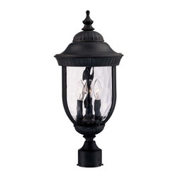 Savoy House - Savoy House 5-60329-186 Castlemain Post Lantern - An incredibly versatile and economical group with Clear Watered glass, available in a variety of sizes, plus post and hanging. Also available in Energy Star with Tuscan glass. Black with Gold finish and Clear Hammered glass.