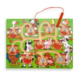 Melissa And Doug - Melissa & Doug Magnetic Number Maze - One for the goose and ten for the goat. All the farmyard animals are counting on you to fill their baskets.