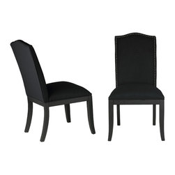Cortesi Home - Cortesi Home Duomo Linen Crown Back Dining Chair (Set of 2), Black - The crown back Duomo chair is effortlessly subtle in its modern royalty design. This dining chair is upholstered in a black linen fabric and adorned with silver nailhead trim, it also features tapered legs in a matte black finish. It offers high back support and a solid wood frame for added strength and durability.