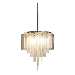 Artcraft - Century City Pendant - The Century City Pendant has a Clear glass cylinder that is suspended by a Chrome frame. Links of chain hang from the pendant and create an air of sophistication. Available in three sizes. Small: three 50 watt 120 volt JCD type G9 base halogen bulbs are required, but not included. 8 inch diameter x 11 inch height. Rods are included for a maximum overall length of 53 inches. Medium: four 50 watt 120 volt JCD type G9 base halogen bulbs are required, but not included. 12 inch diameter x 13.5 inch height. Rods are included for a maximum overall length of 55.5 inches. Large: six 50 watt 120 volt JCD type G9 base halogen bulbs are required, but not included. 16 inch diameter x 15 inch height. Rods are included for a maximum overall length of 57 inches.
