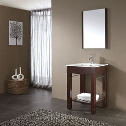 """Avanity LOFT 30"""" X 21.5"""" Vanity LOFT-V30-DWV - The Loft Collection is a sleek clean design that offers extra counter space in a dark walnut finish over birch solid wood and veneers. It features a vitreous China top and has a slat shelf across the bottom for storage. This vanity can be used with an integrated porcelain top or different stone top options, and the adjustable height legs can be removed to make the vanity into a vessel stand. Complete the look with its coordinating mirrors."""