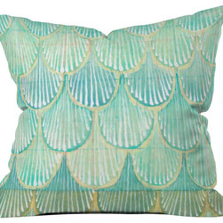 DENY Designs - Cori Dantini Turquoise Scallops Throw Pillow - Wanna transform a serious room into a fun, inviting space? Looking to complete a room full of solids with a unique print? Need to add a pop of color to your dull, lackluster space? Accomplish all of the above with one simple, yet powerful home accessory we like to call the DENY throw pillow collection! Custom printed in the USA for every order.