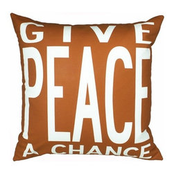 "Uptown Artworks - Peace Pillow - Features: -Material: Natural cotton / linen. -We recommend spot-cleaning or wash in cool water with phosphate-free detergent. -Zipper closure, plush feather and down insert. -Made in the United States. -Eco-friendly. -Overall dimensions: 20"" H x 20"" W, 2 lbs."