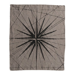 Cricket Radio - Montauk Compass Rose Hand Towel, Stone/Black - Point your decorating in the right direction. This towel features a compass pattern hand-printed on Italian linen and comes in your choice of color combinations. There's even a hanging loop so you don't have to miss out on any of the color or nautical fun.