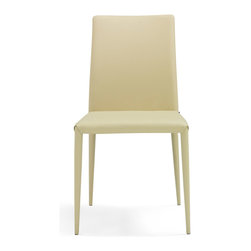 Zuri Furniture - Alanzo Taupe Leatherette Dining Chair - This beautiful modern dining chair comes well dressed to any dinner party.
