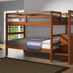Allard Cinnamon Twin Bunk Bed with Storage Ladder - With a twin over twin design ideal for siblings who share a room, the Allard Cinnamon Twin Bunk Bed with Storage Ladder comes in a pleasing cinnamon wood finish that evokes a nostalgic feeling.