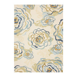 Colours Antique White 2 Hand Hooked Rug 2.6' x 8' - An invigorating reimagining of old-world florals to suit the transitional interior, this rug from the Colours line relies on its motif of beautiful, ruffling layered petals suggested by sophisticated sweeps of blue, warm gold, and variegated beige on the antique white background. Hand-hooked, the rug's looped pile suits the indoor and the outdoor home design and will weather the elements with grace.