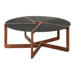 "Blu Dot - ""Blu Dot Pi Coffee Table, Walnut"" - ""Slices of powder-coated steel team with solid walnut and white ash to achieve eye-catching results.  Available in three sizes: side table, large side table and coffee table."""