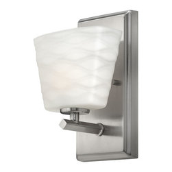 Hinkley Lighting - Tory 5200BN - Bath Wall Sconce | Hinkley - Hinkley Lighting Tory�_5200BN�_Bath Wall Sconce features�_wave pattern etched opal glass and brushed nickel finish.Tory's unique tiered design features a softly bent bar with soothing contours repeated in a graphic wave pattern embossed on the glass. Manufacturer:�_Hinkley LightingSize:�_6.25 in. width x 9.25 in. height x 4.75 in. depth Light Source:�_1 x 60W 120V G9 Halogen - included Certifications: UL Location:�_Damp