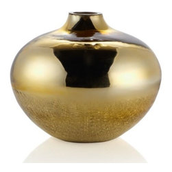 """Z Gallerie - Echo Vase - 10""""H - Simply scintillating, Z Gallerie's exclusive Echo Vases will add a bright note to any room. Crafted of sparkly mirrored glass, each vase is mouth blown and hand folded within the glass to create a brilliant look. The unique finish is smooth gold mirrored glass at the top of the vases and crackled at the base. Use individually or place them as a pair or trio for a more decorative look. Choose from three sizes - 11.75 inches deep x 10 inches high, 9.25 inches deep x 16.75 inches high, or 17.25 inches deep x 22 inches high. Suggested for use with decorative flowers or foliage only. Sold separately."""
