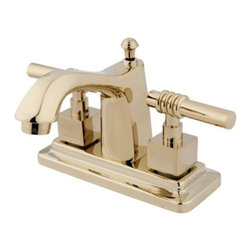 "Kingston Brass - Two Handle 4"" Centerset Lavatory Faucet with Brass Pop-up KS8642QL - Two Handle Deck Mount, 3 Hole Sink Application, 4"" Centerset, 3 hole 4"" center spread installation, Fabricated from solid brass material for durability and reliability, Premium color finish resist tarnishing and corrosion, 1/4 turn On/Off water control mechanism, 1/2"" IPS male threaded shank inlets, Ceramic disc cartridge, 2.2 GPM (8.3 LPM) Max at 60 PSI, Integrated removable aerator, 4"" spout reach from faucet body, 4"" overall height.. Manufacturer: Kingston Brass. Model: KS8642QL. UPC: 663370021770. Product Name: Kingston Brass Milano Two Handle 4"" Centerset Lavatory Faucet with Brass Pop-up. Collection / Series: Milano. Finish: Polished Brass. Theme: Contemporary / Modern. Material: Brass. Type: Faucet. Features: Drip-free ceramic cartridge system"