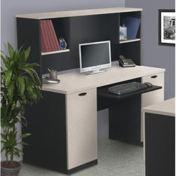Bestar - Hampton Credenza And Hutch - This flexible office system with options for concealed overhead storage is perfect for organizing your work or home office space. The durable melamine ecommercial grade work surface (including tops of lateral file and lower bookcase) is resistant to scratches, stains and burns. Offred with lots of options for storage including a selection of shelves and drawers, the Connexion series is both versatile and stylish. Features: -Credenza and hutch.-Durable 1'' commercial grade work surface that resists scratches, stains and burns.-Shock-resistant PVC edge-banding for durability.-Melamine commercial grade surface.-Grommets for wire management.-Ball-bearing slides.-Hutch with 2 open storage cubbies.-Pedestal with cabinet and letter / legal file drawer.-Large cabinet for storing CPU or other items.-File drawers and keyboard tray sold separately.-Ships ready to assemble.-Made in North America.-The Hampton credenza and hutch features two doors and a file drawer with letter/legal filing system..-1 (25mm) work surface features deluxe 0.25 mm shock resistant PVC edge.-File drawer and key board shelf are on ball-bearing slides for smooth and quiet operation..-Distressed: No.-Collection: Hampton.-Country of Manufacture: Canada.-Desk Type: Credenza Desk.-Top Material: Laminate.-Base Material: Manufactured wood.-Stain Resistant: Yes.-Heat Resistant: Yes.-Design: Standard Desk.-Eco-Friendly: Yes.-Cable Management: No.-Keyboard Tray: Yes.-Height Adjustable: Yes.-Drawers Included: Yes -Number of Drawers: 2.-File Drawer: Yes.-Drawer Glide Material: Metal.-Safety Stop: Yes.-Locking Drawer: No.-Ball Bearing Glides: Yes.-Drawer Handle Design: Drawer Pulls..-Number of Drawer Pedestals: 2.-Pencil Drawer: No.-Jewelry Tray: No.-Exterior Shelving: Yes -Adjustable Exterior Shelving: No..-Cabinets Included: Yes -Number of Cabinets: 1..-Scratch Resistant: Yes.-Chair Included: No.-Casters Included: No.-Hutch Included: Yes.-Treadmill Included: No.-Cork Back Panel: No.-CPU Storage: No.-Built In Outlet: No.-Built In Surge Protector: No.-Light Included: No.-Finished Back: No.-Tipping Prevention: No.-Modular: No.-Application: Home Office; Professional.-Commercial Use: No.-Solid Wood Construction: No.-Wood Tone: Medium.-Swatch Available: Yes.-Recycled Content: Yes -Remanufactured/Refurbished: No..Dimensions: -Overall dimensions: 54.6'' H x 59.5'' W x 23.8'' D.-Overall Product Weight: 182.-Overall Height - Top to Bottom: 54.6.-Overall Width - Side to Side: 59.5.-Overall Depth - Front to Back: 23.7.-Cabinet: Yes.-Drawer: Yes.-Shelving: Yes.-Desktop Height: 30.4.-Desktop Width - Side to Side: 59.5.-Desktop Depth - Front to Back: 23.7.-Hutch: -Hutch Height - Top to Bottom: 24.2.-Hutch Width - Side to Side: 59.5.-Hutch Depth - Front to Back: 11.2..Assembly: -Assembly Required: Yes.Warranty: -5-Year manufacturer warranty.-Product Warranty: 10 year warranty. About the Manufacturer: About Bestar Bestar Furniture, based in Canada, manufactures mid- to high-end ready to assemble furniture for home offices, small commercial offices and home entertainment. Bestar focuses on offering a combination of price, quality and service. Its 350,000 sq. ft. manufacturing plant in Lac-Megantic employs over 450 dedicated employees.
