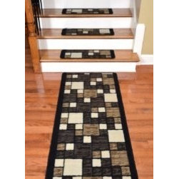 """Dean Flooring Company - Dean Washable Non-Skid Carpet Stair Treads - Hop Scotch Chocolate (13) & Runner - Dean Washable Non-Skid Carpet Stair Treads - Hop Scotch Chocolate (13) Plus a Matching 5' Landing Runner : Washable non-skid carpet stair treads by Dean Flooring Company. Helps reduce slips on your hardwood stairs. Great for helping your dog easily navigate your slippery staircase. Nylon pile with a machine washable non-skid latex backing (wash on delicate in cold water, line dry). Also easy to spot clean or vacuum. Reduces noise. Reduces wear and tear on your hardwood stairs. Each set contains 13 pieces PLUS a matching 5' runner. Each tread is approximately 26"""" x 9"""". We recommend installing this item with our double-sided mesh tape (sold separately). Our mesh tape will not damage your stairs or your rugs and holds great. Easy DIY installation. Adds an attractive fresh new look to your staircase."""