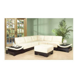 Marthena Home Furnishings - Mirage 6-Pc Sectional Set (Ivory) - Color: IvoryIncludes one right arm facing end table, left arm facing end table, corner, ottoman and two armless loveseats. Leather and leather match upholstery. No assembly required. LAF and RAF end table: 36 in. W x 26 in. D x 15 in. H (65 lbs.). Loveseat: 61 in. L x 35 in. W x 33 in. H (90 lbs.). Corner: 33 in. L x 33 in. W x 33 in. H (70 lbs.). Ottoman: 34 in. L x 34 in. W x 17 in. H (25 lbs.)